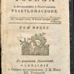 Strona tytułowa II tomu polskiego przekładu Nocy Younga (1785)