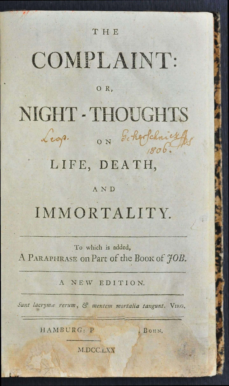 Strona tytułowa Nocy Younga zdodatkiem krótkiej parafrazy Księgi Hioba (1770)