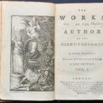 Strona tytułowa ifrontyspis pierwszego tomu wydania dzieł zebranych Edwarda Younga (1762)