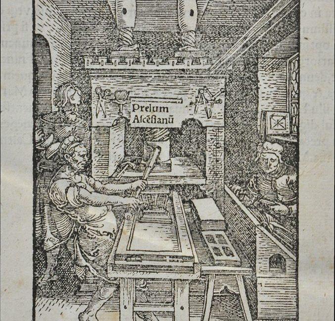 Sygnet wydawniczy oficyny Iodocusa Badiusa z widniejącymprzydomkiem Prelum Ascensianum