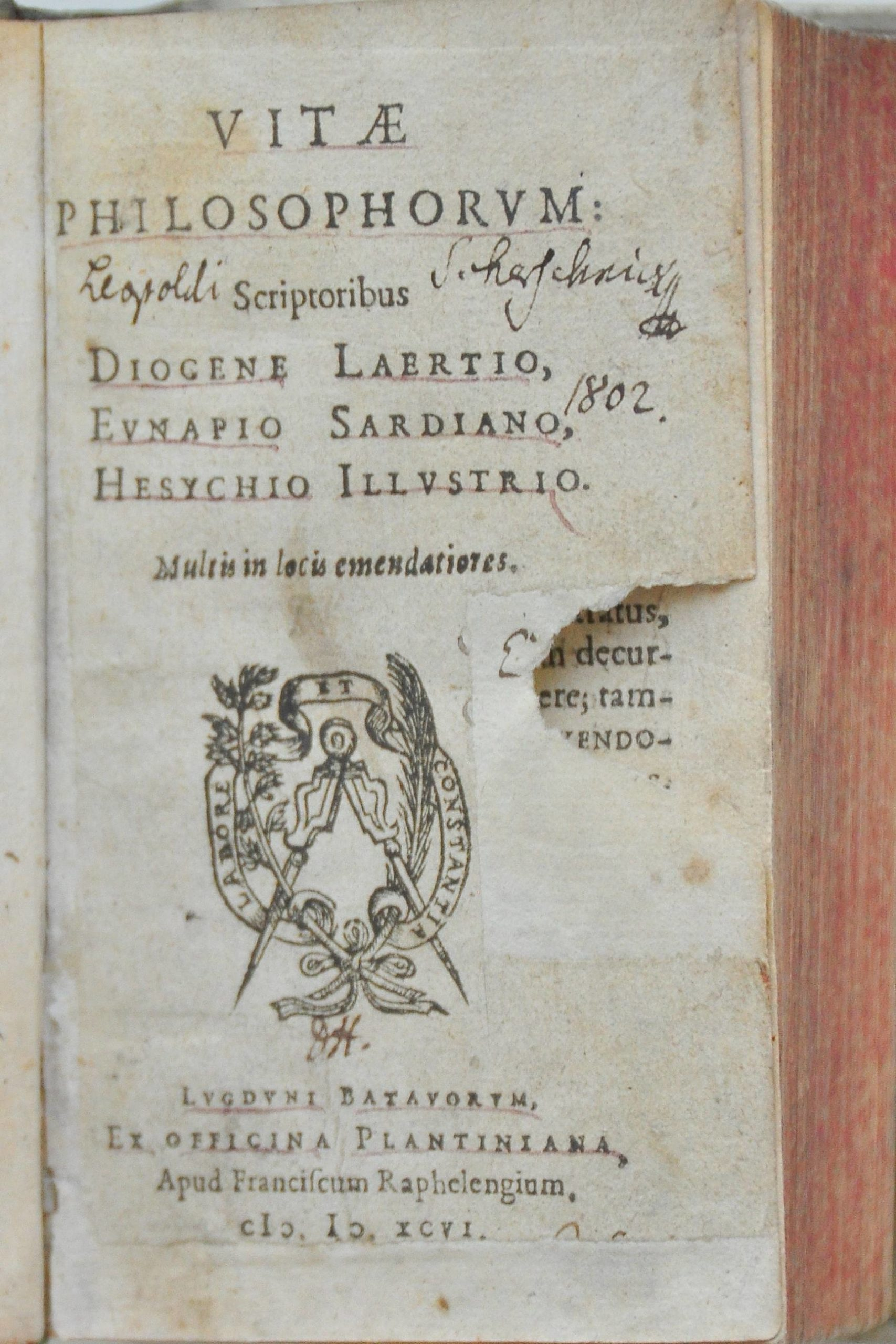 Strona tytułowa edycji Vitae philosophorum (1596)