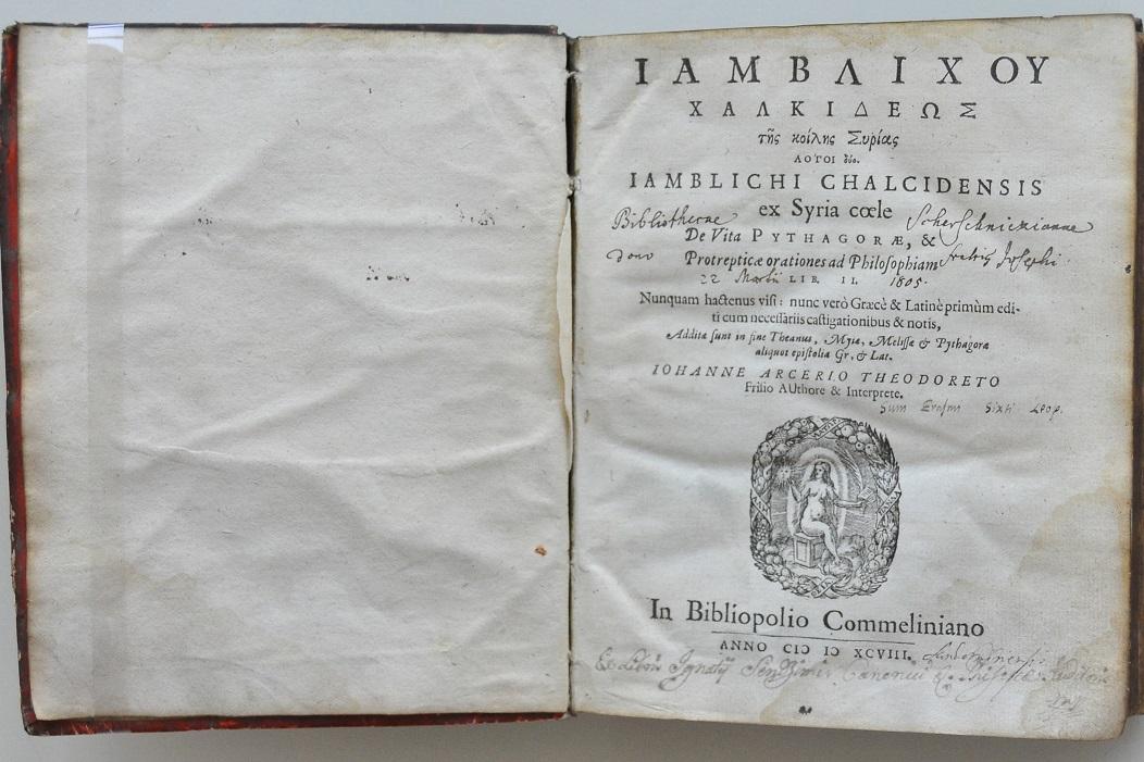 Strona tytułowa edycji dzieł Jamblicha