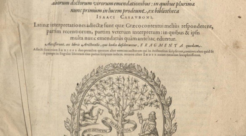 Strona tytułowa I-tomu Aristotelous tou Stageritou ta Sodzomena Lugdunum (1590)