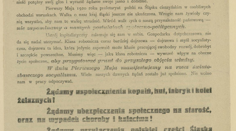Afisz pierwszomajowy Komitetu Obwodowego PPS na Śląsku w 1920 r. z programem wieców i uroczystości na Śląsku Cieszyńskim