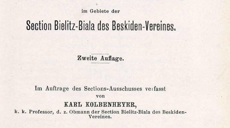 Strona tytułowa 2 wydania przewodnika po Beskidach (Kolbenheyer 1901)