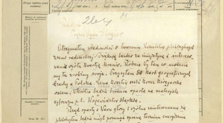 Telegram ks. Dominika Ściskały do Macieja Glogier, prezesa sądu w Radomiu z 2 stycznia 1920 r. w sprawie tworzenia komitetów plebiscytowych ziemi radomskiej.