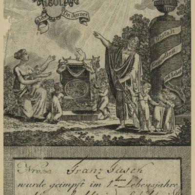 Świadectwo szczepienia na ospę Franciszka Fusek ze Strumienia z 1801