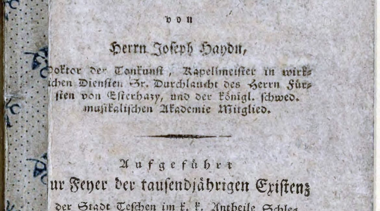Strona tytułowa libretta do oratorium Josepha Haydna – Die Jahreszeiten (Pory roku) wydanego w drukarni Tomasza Prochaski (sygn. SZ DD I 37). Cyfrowa wersja publikacji udostępniona jest na stronie Śląskiej Biblioteki Cyfrowej: https://www.sbc.org.pl/dlibra/doccontent?id=318708