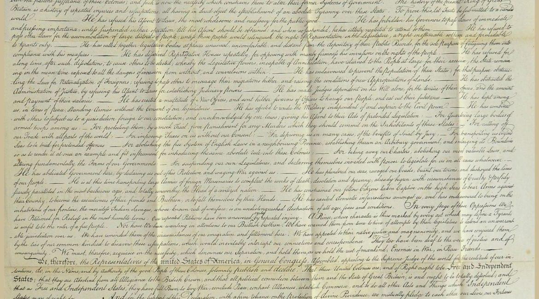 Faksymile Deklaracji niepodległości Stanów Zjednoczonych pochodzące z wydanej w 1840 r. publikacji Vie, correspondance et écrits de Washington, którą opracował francuski historyk François Guizot (sygn. PM III 13440)