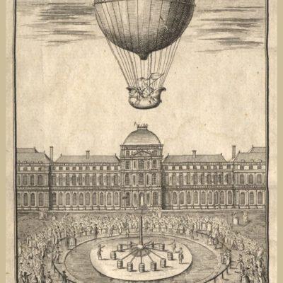 """Start balonu z ogrodów Tuileries w Paryżu 1 grudnia 1783 r. Zaprojektowany przez Alexandra Charles'a i wykonany przez braci Robert balon napełniony był wodorem. Ilustracja z publikacji """"Montgolfier'sche Luftkörper oder Aerostatische Maschinen"""", wydanej w 1784 r. w Strasburgu (sygn. BD SD I 00120)"""