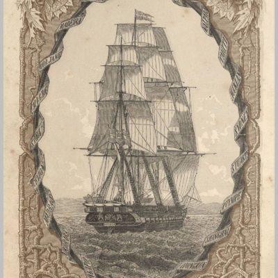 """Fregata """"Novara"""". Ilustracja z publikacji Reise der Oesterreichischen Fregatte Novara um die Erde in den Jahren 1857, 1858, 1859. (sygn. SZ Q III 36)"""