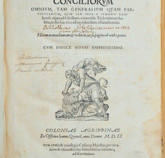 Tertivs tomvs Conciliorvm omnivm, tam generalivm qvam particvlarivm … - Karta tytułowa z wpisami proweniencyjnymi i ryciną przedstawiającą walkę Samsona z lwem