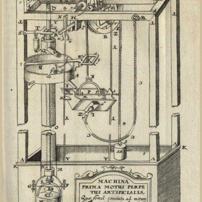 Machina prima motus perpetui artificialis – urządzenie zaprojektowane przez Stanisława Solskiego. Rysunek zamieszczony w dziele Kaspara Schotta: Technica curiosa (SZ I III 23).