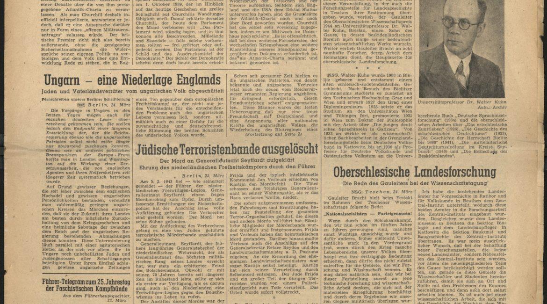 """Numer dziennika """"Oberschlesische Zeitung"""" informujący o przyznaniu wyróżnienia Gauplaketten für Oberschlesische Landesforschung dla dr. Waltera Kuhna. Egzemplarz z biblioteki ZOL"""