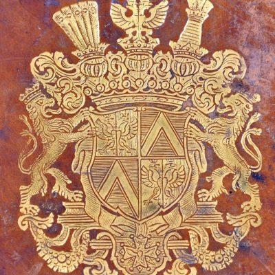 Oryginalna skórzana oprawa pierwszej edycji Monumentum Sarmatarum (1655) ze złoconym superekslibrisem hrabiego Heinricha von Brühla