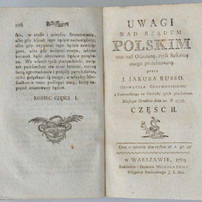 Strona tytułowa II części pierwszego polskiego przekładu Uwag o rządzie polskim (1789)
