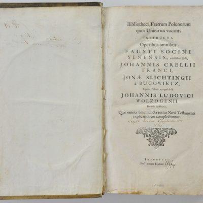 Strona tytułowa Opera omnia Fausta Socyna wydanych w serii Bibliotheca Fratrum Polonorum (1656)